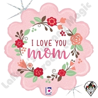 18 Inch Shape Fresh Floral ILY Mom Foil Balloon Betallic 1ct