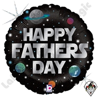 18 Inch Round Galactic Father's Day Foil Balloon Betallic 1ct