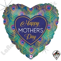 18 Inch Heart Glitter Peacock Mother's Day Foil Balloon Betallatex 1ct