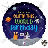 18 Inch Round Outta This World Birthday Foil Balloon Betallic 1ct