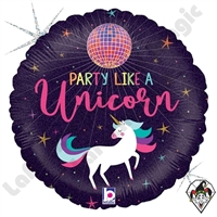 18 Inch Round Unicorn Party Foil Balloon Betallic 1ct
