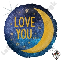 18 Inch Round Moon And Back Foil Balloon Betallic 1ct