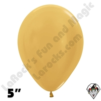 5 Inch Round Metallic Gold Betallatex 100ct
