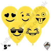 5 Inch Round Emoji Assortment Betallatex 100ct