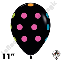 11 Inch Round Assortment Polka Dots Deluxe Black Betallatex 50ct