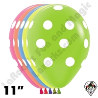 11 Inch Round Assortment Polka Dots Neon Betallatex 50ct