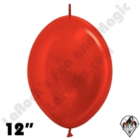 Betallatex 12 Inch Metallic Red Link O Loon 50ct