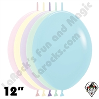 12 Inch Assortment Pastel Matte Link-O-Loon Betallatex 50ct