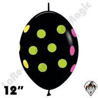 Betallatex 12 Inch Multi Polka Dot Deluxe Black  Link O Loon 50ct
