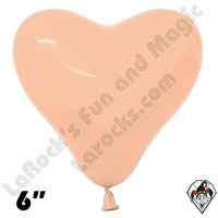 6 Inch Heart Deluxe Peach Blush 100ct