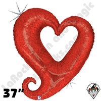 37 Inch Shape Chain of Hearts Red Foil Balloon Betallic 1ct