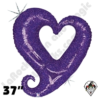 37 Inch Shape Chain of Hearts Purple Foil Balloon Betallic 1ct