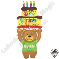 60 Inch Shape Special Delivery Birthday Bear Foil Balloon Betallic 1ct