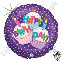 18 Inch Round Happy Birthday Cupcake Foil Balloon Betallic 1ct