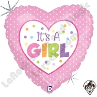 18 Inch Heart Baby Girl Dots Foil Balloon Betallic 1ct