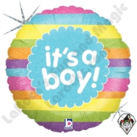 18 Inch Heart It's A Boy Rainbow Stripes Foil Balloon Betallic 1ct