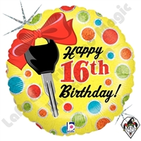18 Inch Round 16th Birthday Dots Foil Balloon Betallic 1ct