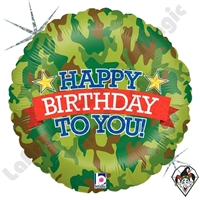 18 Inch Round Camo Birthday Foil Balloon Betallic 1ct