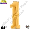 64 Inch Number 1 Gold Gigaloon Foil Balloon Betallatex 1ct