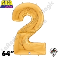 64 Inch Number 2 Gold Gigaloon Foil Balloon Betallic 1ct