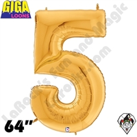 64 Inch Number 5 Gold Gigaloon Foil Balloon Betallatex 1ct