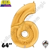 64 Inch Number 6 Gold Gigaloon Foil Balloon Betallatex 1ct