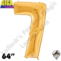 64 Inch Number 7 Gold Gigaloon Foil Balloon Betallatex 1ct