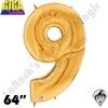 64 Inch Number 9 Gold Gigaloon Foil Balloon Betallatex 1ct