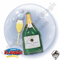 Qualatex 24 Inch Bubbly Wine Bottle and Glass Double Bubble 1ct