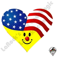 Smiley Flag Heart Stickers