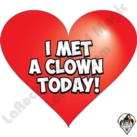 I Met A Clown Today Heart Stickers