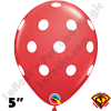 Qualatex 5 Inch Round Big Polka Dot Red White Dots Balloons 100CT