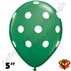 Qualatex 5 Inch Round Big Polka Dot Green White Dots Balloons 100CT