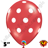 Qualatex 5 Inch Round Big Polka Dot Ruby Red White Dots Balloons 100CT