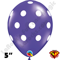 Qualatex 5 In Round Big Polka Dot Quartz Purple with White Dots Balloons 100CT