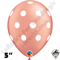 Qualatex 5 Inch Round Big Polka Dot Rose Gold w/White Dots Balloons 100CT