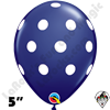 Qualatex 5 Inch Round Big Polka Dot Navy Blue w/White Dots Balloons 100CT