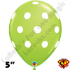 Qualatex 5 Inch Round Big Polka Dot Lime Green White Dots Balloons 100CT