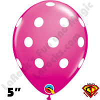 Qualatex 5 Inch Round Big Polka Dot Wild Berry White Dots Balloons 100CT