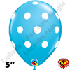 Qualatex 5 Inch Round Big Polka Dot Robins Egg Blue White Dots Balloons 100CT