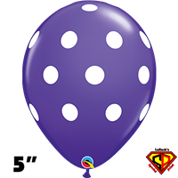 Qualatex 5 Inch Round Big Polka Dot Purple Violet White Dots Balloons 100CT