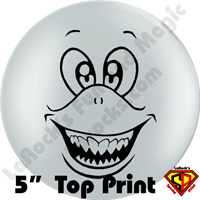 Qualatex 5 Inch Round Top-Print Cute Shark Face Balloon by Juan Gonzales