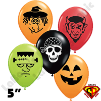 Qualatex 5 Inch Round Spooky Face Assortment Balloons 100ct