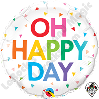 18 Inch Round Oh Happy Day Rainbow Confetti Foil Balloon Qualatex 1ct.