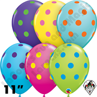 Qualatex 11 Inch Round Big Polka Dots Colorful Assortment Balloons 50ct