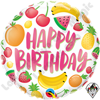 18 Inch Round Birthday Fruits Foil Balloon Qualatex 1ct.