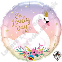 18 Inch Round Oh Lovely Day Swan Foil Balloon Qualatex 1ct.