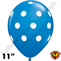 Qualatex 11 Inch Round Big Polka Dots Dark Blue Balloons 50ct