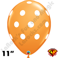 Qualatex 11 Inch Round Big Polka Dots Orange & White Balloons 50ct