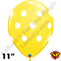 Qualatex 11 Inch Round Big Polka Dots Yellow & White Balloons 50ct